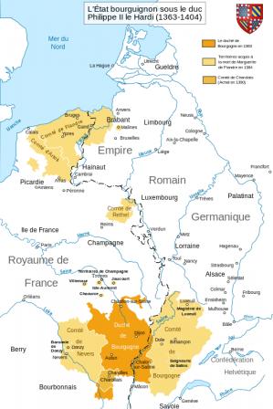 carte de l'état bourguignon en 1363