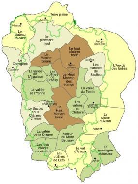 Morvan - entités paysagères (le morvandiau - wikipedia)
